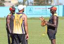 Uganda coach Steve Tikolo talks to Frank Nsubuga and Mohammed Irfan during a training session, ICC World Cricket League Division Three, Kampala, May 25, 2017