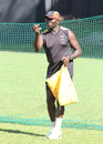 Uganda coach Steve Tikolo helps a batsman practice the sweep with some underhand throws, ICC World Cricket League Division Three, Kampala, May 25, 2017