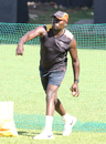 Uganda coach Steve Tikolo gives throwdowns during a training session, ICC World Cricket League Division Three, Kampala, May 25, 2017