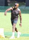 Uganda coach Steve Tikolo gives throwdowns during a training session, ICC World Cricket League Division Three, Kampala, May 25, 2017