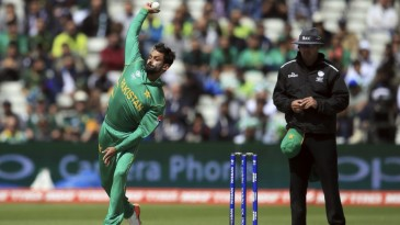 Mohammad Hafeez in his delivery stride with a remodelled action