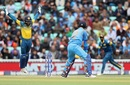 Yuvraj Singh chopped onto the stumps and it gave Niroshan Dickwella great joy, India v Sri Lanka, Champions Trophy 2017, The Oval, London, June 8, 2017