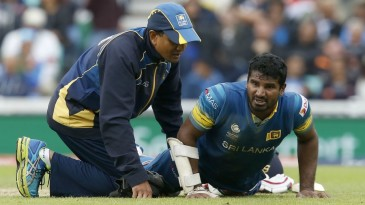 Kusal Perera was forced to retire hurt with a hamstring injury