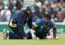 Kusal Perera was forced to retire hurt with a hamstring injury, India v Sri Lanka, Champions Trophy 2017, The Oval, London, June 8, 2017