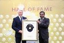Muttiah Muralitharan was inducted into the ICC Hall of Fame during the innings break, India v Sri Lanka, Champions Trophy 2017, The Oval, London, June 8, 2017