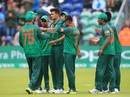 Taskin Ahmed is mobbed by his team-mates, New Zealand v Bangladesh, Group A, Champions Trophy 2017, Cardiff, June 9, 2017