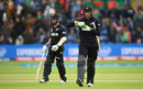Martin Guptill walks back to the dressing room after consulting Kane Williamson about an lbw review, New Zealand v Bangladesh, Group A, Champions Trophy 2017, Cardiff, June 9, 2017