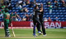 Tim Southee celebrates after dismissing Tamim Iqbal in the first over, New Zealand v Bangladesh, Group A, Champions Trophy 2017, Cardiff, June 9, 2017