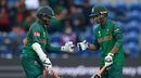 Shakib Al Hasan and Mahmudullah have a chat during their partnership, New Zealand v Bangladesh, Group A, Champions Trophy 2017, Cardiff, June 9, 2017