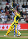 Steven Smith climbs into a pull shot, England v Australia, Champions Trophy, Group A, Edgbaston, June 10, 2017