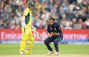 Adil Rashid took a caught-and-bowled off Pat Cummins, England v Australia, Champions Trophy, Group A, Edgbaston, June 10, 2017