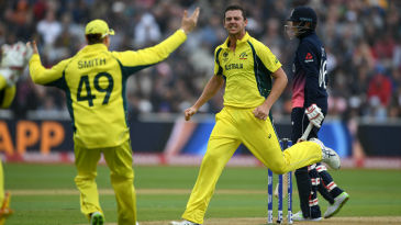 Josh Hazlewood claimed his second when Joe Root edged to the keeper