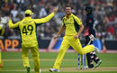 Josh Hazlewood claimed his second when Joe Root edged to the keeper, England v Australia, Champions Trophy, Group A, Edgbaston, June 10, 2017