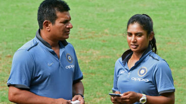 Mithali Raj and coach Tushar Arothe have a chat during a preparatory camp