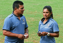 Mithali Raj and coach Tushar Arothe have a chat during a preparatory camp, Mumbai, June 10, 2017