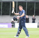 Richie Berrington acknowledges the crowd after reaching his third List A century, Scotland v Namibia, ICC WCL Championship, Edinburgh, June 11, 2017