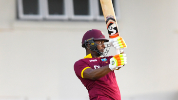 Evin Lewis tries to hold his shape after cutting one over backward point