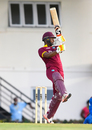 Evin Lewis tries to hold his shape after cutting one over backward point, West Indies v Afghanistan, 2nd ODI, Gros Islet, June 11, 2017
