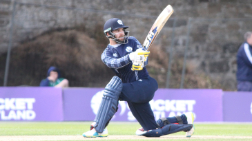 Preston Mommsen scoops over fine leg for a boundary on his return to the national team
