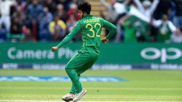 Hasan Ali is overjoyed after bursting through Kusal Mendis' defences