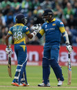 Angelo Mathews speaks to Niroshan Dickwella after the opener brings up his fifty, Champions Trophy 2017, Group B, Cardiff, London, June 12, 2017