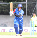 Louis van der Westhuizen drives down the ground, Scotland v Namibia, ICC WCL Championship, Edinburgh, June 12, 2017