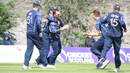 Con de Lange gets mobbed after a stunning catch to remove Craig Williams, Scotland v Namibia, ICC WCL Championship, Edinburgh, June 12, 2017