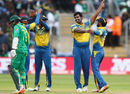 Thisara Perera celebrates the wicket of Mohammad Hafeez, Sri Lanka v Pakistan, Champions Trophy, Group B, Cardiff, June 12, 2017