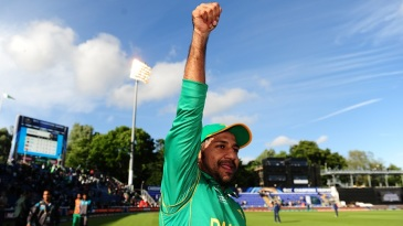Sarfraz Ahmed was jubilant after leading his side to a win against Sri Lanka