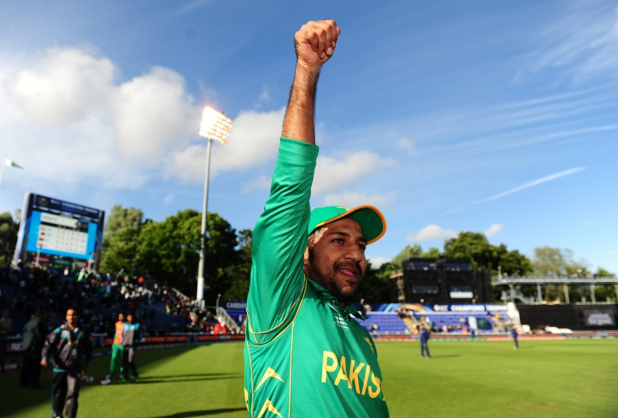 Sarfraz Ahmed was jubilant after leading his side to a win against Sri Lanka, Sri Lanka v Pakistan, Champions Trophy, Group B, Cardiff, June 12, 2017