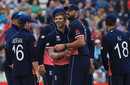 Mark Wood and Liam Plunkett celebrate the wicket of Steven Smith, England v Australia, Champions Trophy, Group A, Edgbaston, June 10, 2017