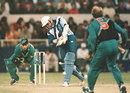Keeper Lee Germon stands up to the stumps while Chris Harris bowls to Alec Stewart, New Zealand v England, 1st ODI, Christchurch, February 20, 1997