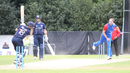 Christi Viljoen beats Craig Wallace with a yorker for his third wicket, Scotland v Namibia, ICC WCL Championship, Edinburgh, June 13, 2017