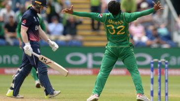 Hasan Ali explodes in celebration after dismissing Eoin Morgan