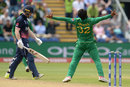 Hasan Ali explodes in celebration after dismissing Eoin Morgan, England v Pakistan, Champions Trophy, 1st semi-final, Cardiff, June 14, 2017