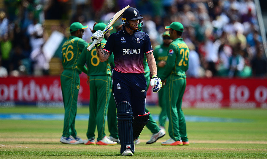 Ben Stokes trudges off after falling to Hasan Ali, England v Pakistan, Champions Trophy, 1st semi-final, Cardiff, June 14, 2017