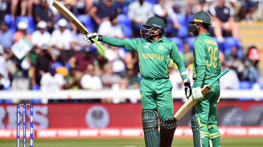 Azhar Ali passed 50 during a century opening stand, England v Pakistan, Champions Trophy, 1st semi-final, Cardiff, June 14, 2017