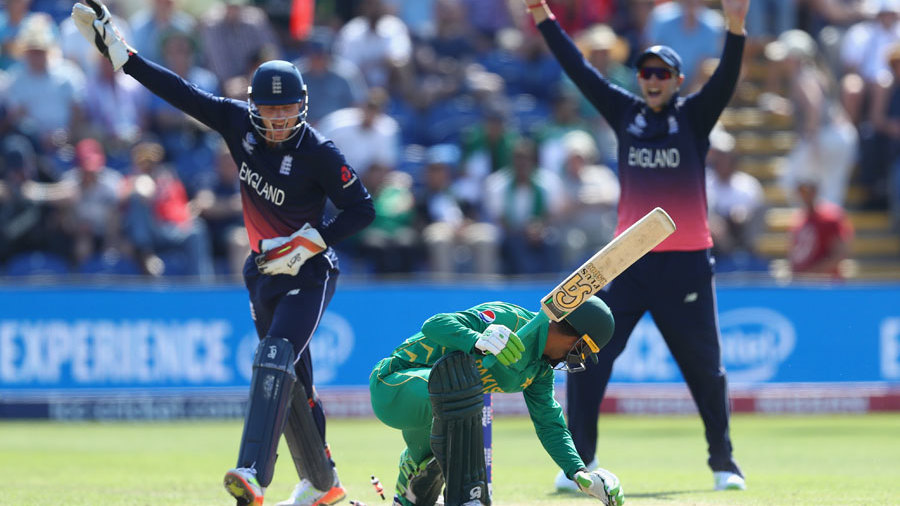 Jos Buttler pulled off a smart stumping to remove Fakhar Zaman, England v Pakistan, Champions Trophy, 1st semi-final, Cardiff, June 14, 2017