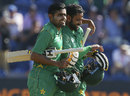 Babar Azam and Mohammad Hafeez walk off victorious, England v Pakistan, Champions Trophy, 1st semi-final, Cardiff, June 14, 2017