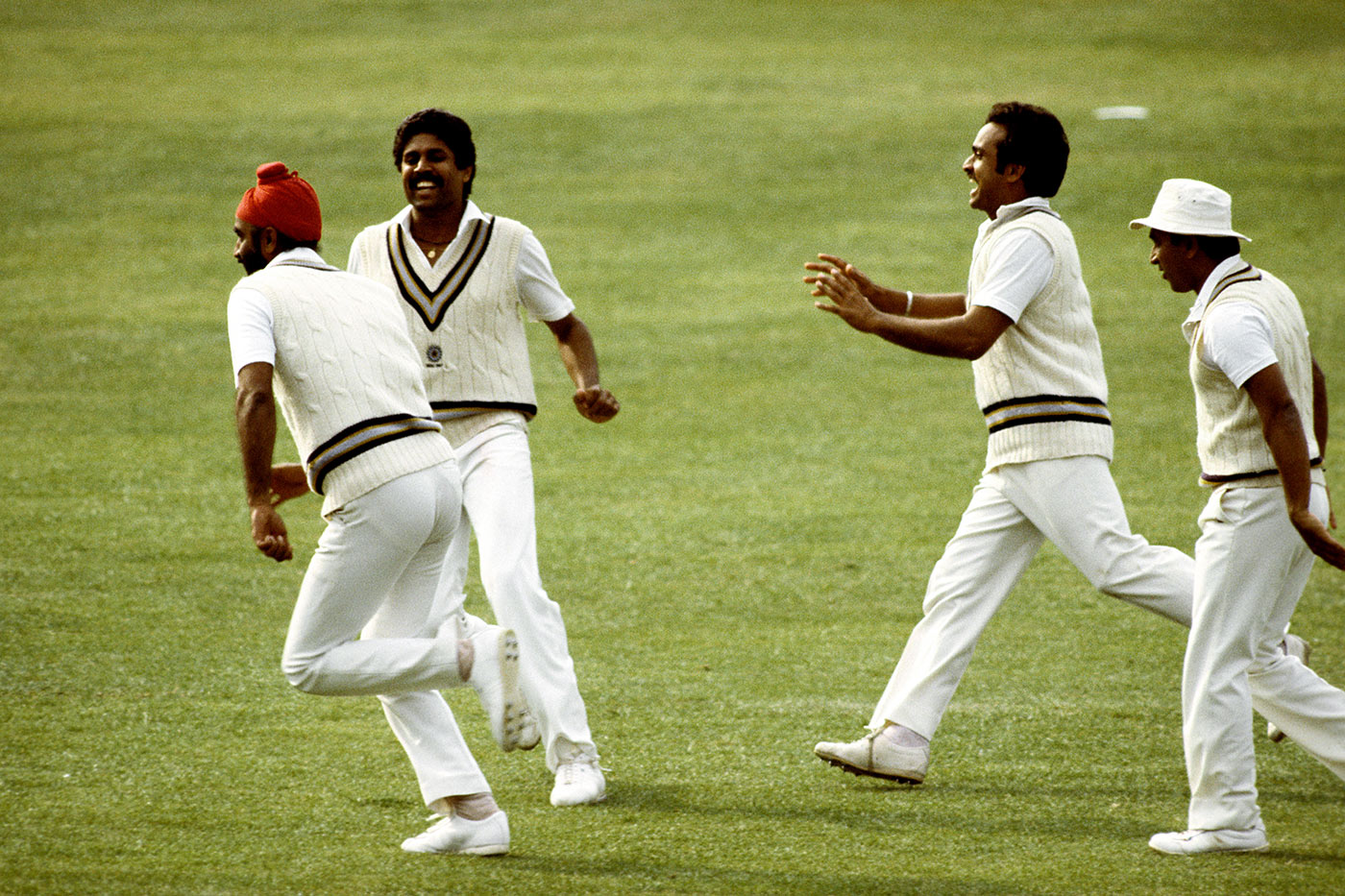 It begins to sink in: Balwinder Sandhu, Kapil, Madan Lal and Sunil Gavaskar after the fall of the last West Indies wicket in the 1983 World Cup final