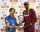 The captains Asghar Stanikzai and Jason Holder share honours after the ODI series between the two teams finished on 1-1, West Indies v Afghanistan, 3rd ODI, St Lucia, June 14, 2017