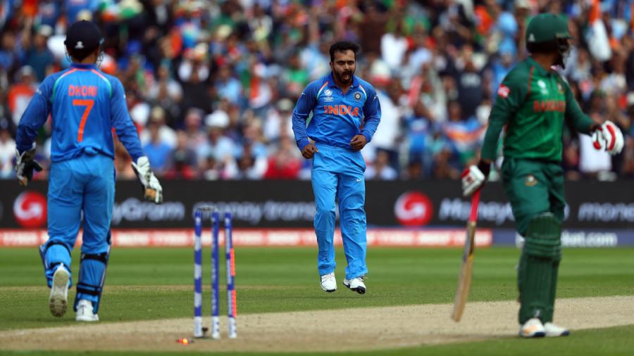 Kedar Jadhav broke a 123-run third-wicket stand between Tamim Iqbal and Mushfiqur Rahim, Bangladesh v India, Champions Trophy 2017, Edgbaston, June 15, 2017