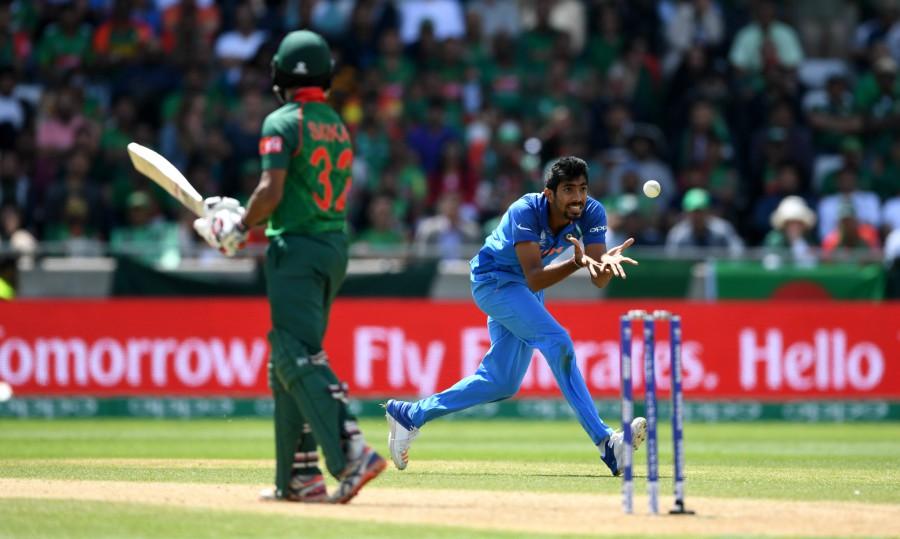 Jasprit Bumrah completes the return catch of Mosaddek Hossain, Bangladesh v India, Champions Trophy 2017, Edgbaston, June 15, 2017