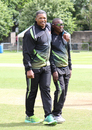 Zimbabwe assistant coach Makhaya Ntini has a stroll on the outfield before the toss, Scotland v Zimbabwe, 1st ODI, Edinburgh, June 15, 2017