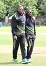 Zimbabwe assistant coach Makhaya Ntini has a stroll on the outfield before the toss, Scotland v Zimbabwe, 1st ODI, Edinburgh, June 15, 2017
