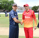 Kyle Coetzer and Graeme Cremer shake hands ahead of the maiden ODI between the sides, Scotland v Zimbabwe, 1st ODI, Edinburgh, June 15, 2017