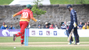 Preston Mommsen's charge goes awry and ends up bowled by Graeme Cremer, Scotland v Zimbabwe, 1st ODI, Edinburgh, June 15, 2017