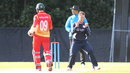 Con de Lange celebrates his fifth wicket after Malcolm Waller is caught on the boundary, Scotland v Zimbabwe, 1st ODI, Edinburgh, June 15, 2017