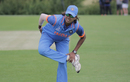 Jhulan Goswami goes through a warm-up routine ahead of the start of play, West Indies Women and India Women, unofficial warm-up game, Leicestershire, June 16, 2017