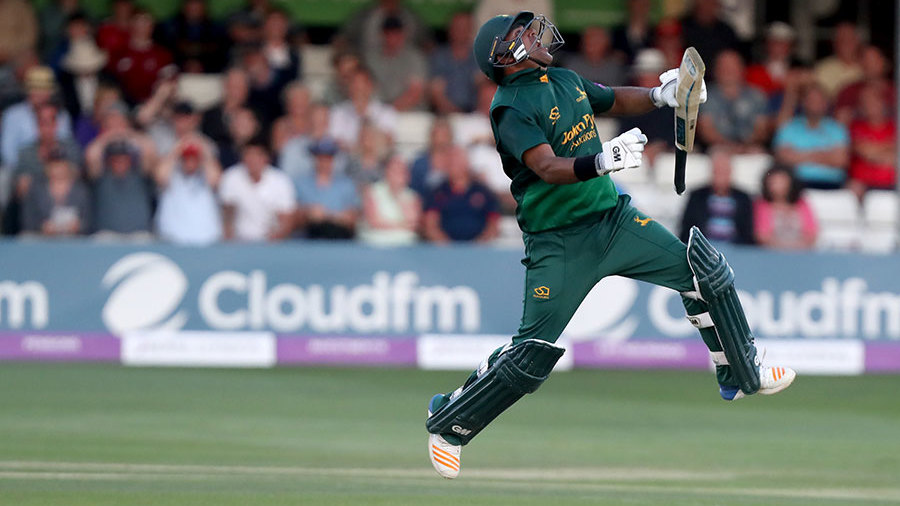 Samit Patel celebrates the winning runs in a huge chase